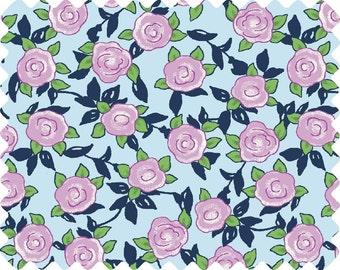 Aunt Lindy's Lavender Roses on Light Blue (7174-8) - BTY - Blue Hill Fabrics