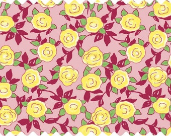 Price Reduced!  Aunt Lindy's Yellow Roses on Pink (7174-6) - BTY