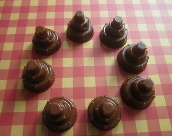 "8 Brown ""Chocolate"" Wedding Birthday Cake Rose & Thyme scented Glycerin Soaps"