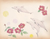 Pink dolphins - postcard
