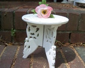 Shabby Chic Small Plant Stand, Chic Plant Stand. Wood Plant Stand
