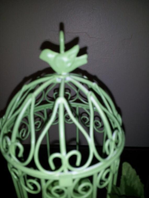 Petite tealight birdcage - apple green, shabby chic decor, cottage decor, spring decor