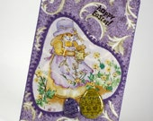 Quilted Fabric Postcard - Happy Easter