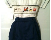 Vintage Navy Blue Shorts and White Embroidered Train Blouse with Peter Pan Collar