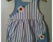 Vintage 1950s Blue Striped Romper 3T