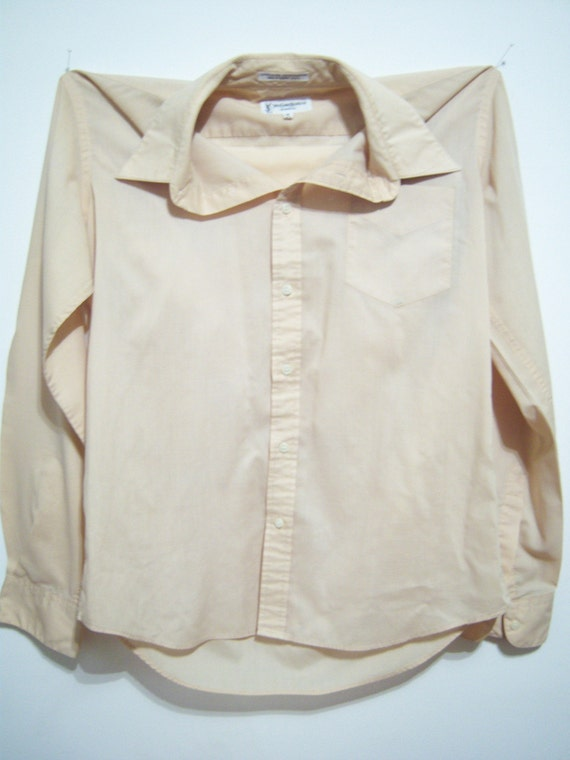Vintage Mens Yves Saint Laurent Dress Shirt Pale Tan Sand