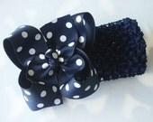 Boutique Crochet Headband------Navy Blue with White----POLKA DOTS-----