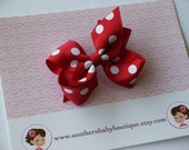 New Item----Newborn Little Baby Toddler Girl Hair Bows 2.5 inch----Red with White Dots------