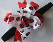 Boutique Baby Girl Toddler DOUBLED LAYERED Hair Bow Dainty Headband-----Miss Priss Lady----Makes a Perfect Gift