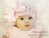 Boutique Baby Crochet Beanie Cap with Satin Bow Clip-------Fits 0-12 Months------PRECIOUS PINK------