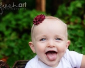 Boutique Newborn Baby Girl Toddler Soft Stretch Flower Headband-----PLUM Purple POM POM-----Photo Prop