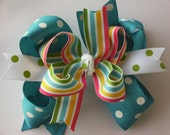 NEW ITEM----Big Boutique Doubled Layered Hair Bow Clip----FANCY Tropical Paradise----Free Shipping
