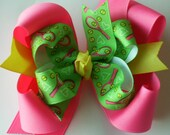 NEW ITEM---Big Boutique Doubled Layered Hair Bow Clip---FANCY Tennis Match---