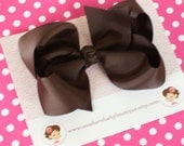 INVENTORY BLOWOUT SALE---Boutique Large Hair Bow Clip-----Brown----Ready to Ship