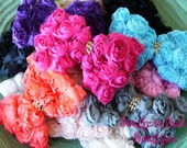 NEW ITEM----Boutique Baby Girl Rhinestone Rose Flower Bow Clip or Headband----You Pick Color----Romantic Couture