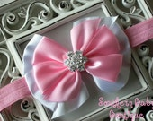 NEW ITEM----Boutique Satin Rhinestone Bow Headband-----Sweet Baby