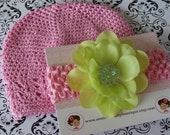 SALE----Baby Beanie Cap and Headband Shower Gift Set-----Pink & Lime Green