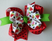NEW Item---------Big Boutique Doubled Layered Hair Bow Clip-------FANCY WATERMELON-------