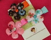 Boutique Baby Girl Toddler Clippies-----COTTAGE FLOWERS-----Brown Pink Aqua Set of 3