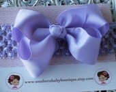 NEW ITEM----Boutique Baby Toddler Girl Hair Bow Clip with Crochet Headband-----LAVENDER----