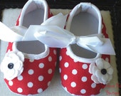 NEW ITEM----Boutique Baby Girl Shoes-------Miss RED Dotty-----Size 6-12 Months
