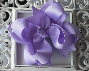 New---Mini Boutique Doubled Layered Solid Hair Bow Clip---You Pick Color