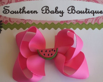 Boutique Baby Toddler Girl MEDIUM Hair Bow Clip----YUMMY WATERMELON---Hot Pink