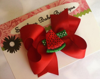 New Item---Boutique Baby Toddler Girl Hair Bow Clip with 3-D Clip---WATERMELON SLICE---Red & Green---