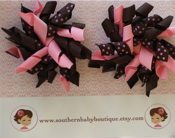 New Item---- 2 Piece Set Boutique Korker Hair Bows-----Brown with Pink Dots----Ready to Ship
