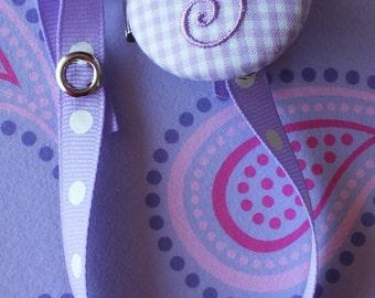 Boutique Monogrammed Baby Toddler Girl----Paci Clip---Pacifier Holder---LAVENDER---You Pick Letter