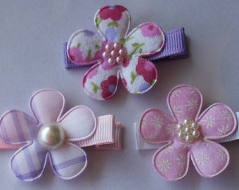 Boutique Baby Girl Toddler Clippies-----COTTAGE FLOWERS-----PINKS----Set of 3