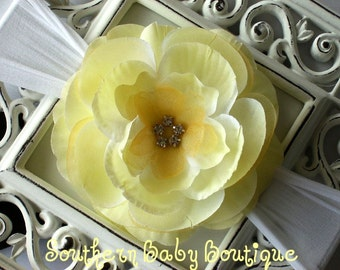 New Item----Boutique Baby Girl Nylon Headband with Rhinestone Rose Flower---Fits 0-12 Months---Baby Maize on White---BELLA COLLECTION