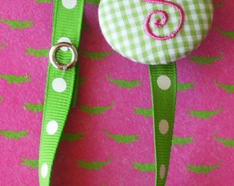Boutique Monogrammed Baby Toddler Girl----Paci Clip-----Pacifier Holder-----Lime Green with Shocking Pink---You Pick Letter