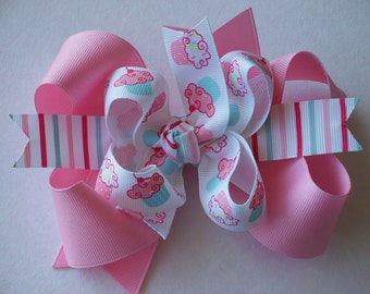 NEW-----Big Boutique Doubled Layered Hair Bow Clip-------Fancy Cupcakes and Stripes---