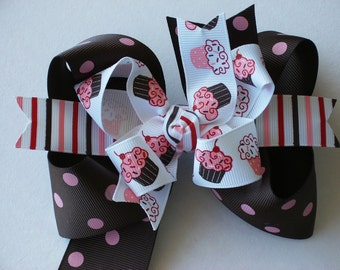 NEW ITEM---------Big Boutique Doubled Layered Hair Bow Clip-------FANCY Cupcakes Dots and Stripes-------