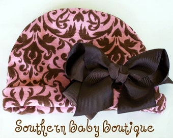 Boutique Newborn Baby Girl Knit Beanie Cap with Hair Bow Clip----Pink and Brown Damask----Fits 6-14 Mths----