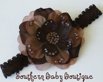 INVENTORY BLOWOUT SALE---Boutique Baby Girl Toddler Soft Stretch Lace Headband Beaded Flower---Chocolate Brown