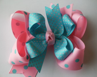 New---Big Boutique Doubled Layered Hair Bow Clip---DOTS---Light Pink and Turquoise--