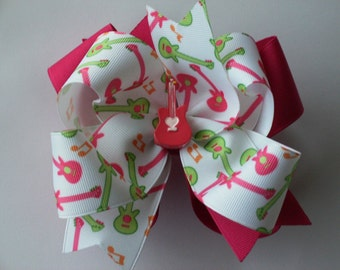 NEW ITEM---------Big Boutique Doubled Layered Hair Bow Clip------Shocking Pink and White-------My Little Rock Star