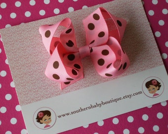 SALE------Boutique Medium Hair Bow Clip------Pink and Brown-----Polka Dots