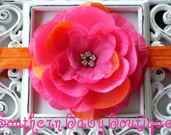 Boutique Baby Girl Toddler Soft Stretch Flower Headband---SUNRISE---Photo Prop