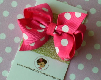 NEW ITEM-----Newborn Little Baby Toddler Girl Hair Bows 2.5 inch-------------Shocking Pink with White Dots