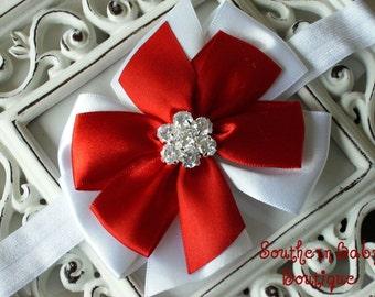 NEW----Boutique Satin Rhinestone Bow Headband-----Heart Breaker----