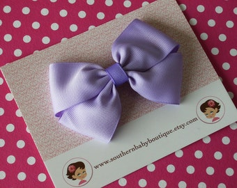 SALE---Boutique Wendy Hair Bow French Clip---LAVENDER--Ready to Ship