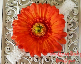STEAL of the DAY---Boutique Baby Girl Toddler Flower Headband---ORANGE Passion---Photo Prop