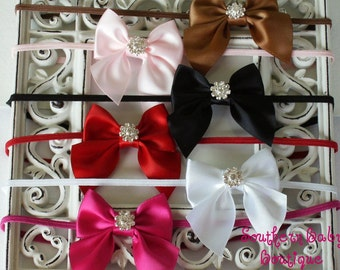 NEW ITEM----Boutique Baby Girl Rhinestone Mini Satin Hair Bow Skinny Headband-----You Pick Color----
