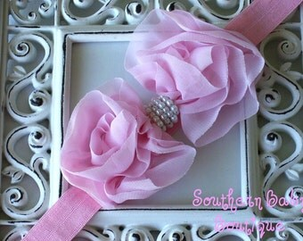 INVENTORY BLOWOUT SALE----Boutique Baby Girl Headband with Pearl Ruffled Chiffon Bow---Pink---Romantic Couture