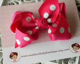 INVENTORY BLOWOUT SALE----Boutique Large Hair Bow Clip-----Polka Dots-----Shocking Pink----Ready to Ship
