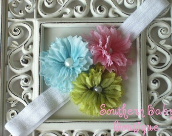 NEW ITEM----Boutique Baby Girl Toddler Headband-----SPRING Trio-----Photo Prop