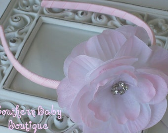New Item----Rhinestone Flower Headband--------LIZZY-----Light Pink
